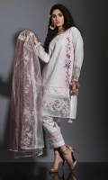 WHITE AND PINK SCHIFFLI EMBROIDERD PANNEL FRONT, WITH WHITE COTTON SILK BACK. APPLIQUED DAMAN & SLEEVES. BEAUTIFIED WITH HAND MADE TRIMS ON DAMAN AND STATEMENT TROUSER. PAIRED WITH PRINTED AND DYED TISSED DUPATTA , STYLED WITH FANCY LACE WORK.