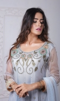 This Flared Net Pishwas with Delicate Thread and Fancy Embellishment is just Perfect for Chic Traditional look. It Completes the look with Jamawar Gharara Pants and Net Embroiderd Dupatta