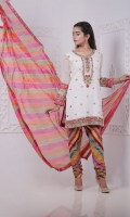 This Kurta with Multicolor Appliqued Borders and Delicate Gota Hand Embellishment is just Perfect for Chic Traditional look. It Completes the look with Churidar Pajama and Chatta Patti Dyed Dupatta