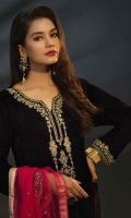 Velvet Full Length Shirt with Jamawar Trouser and Net Dupatta