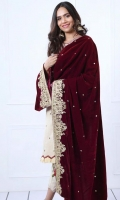 Velvet Shawl Embroidered with Threads, Zaris and Sequins 2.5 Yards
