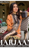 Digital Printed Lawn Front 1.20 Yards Embroidered  Neckline 1 Pc Digital Printed Lawn Back 1.20 Yards Digital Printed Lawn Sleeves 0.70 Yard Dyed Trouser 2.70 Yards Embroidered Bunch For Trouser 1 Set Embroidered Chiffon Dupatta 2.50 Yards