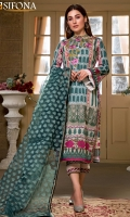 Digital Printed Lawn Front 1.20 YardS Embroidered Neckline 1 Pc Digital Printed Lawn Back 1.20 YardS Digital Printed Lawn Sleeves 0.70 Yard Dyed Trouser 2.70 Yards Embroidered Bunches For Trouser 1 Set Cotton Net Jacquard Dupatta 2.50 Yards