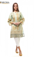 Digital printed lawn stitched shirt embellished with Pearls & Laces.