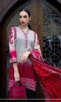 2 pcs embroidered Cotton with Lawn dupatta