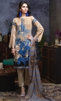 Printed Cambric Shirt with Embroidery on shirt , Printed Chiffon Dupatta & Dyed Trouser.