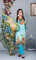 4 PCS Printed Ladies Suit (100% Cotton Fabric) 3 Meters Shirt + sleeves 2.5 Meter Dupatta 2.5 Meter Trouser Shirt: Lawn Dupatta: Chiffon Trouser: Lawn