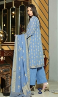 4 PCS Embroidered Ladies Suit (100% Cotton) 3 Meters Shirt + sleeves 2.5 Meter Dupatta 2.5 Meter Trouser Shirt: Jacquard Fabric Dupatta: Jacquard Fabric Trouser: Cotton Cambric