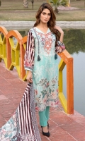 4 PCS Printed Ladies Suit (100% Cotton Fabric) 3 Meters Shirt + sleeves 2.5 Meter Dupatta 2.5 Meter Trouser Shirt: Lawn Dupatta: Cotton Net Trouser: Lawn