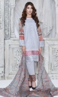 4 PCS Digital Printed Embroidered Suit (100% Cotton fabric) 3 Meters Shirt + sleeves 2.5 Meter Dupatta 2.5 Meter Trouser Shirt: Lawn Dupatta: Rao Silk Trouser: Dyed Cotton