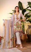 3 Meters Shirt + sleeves 2.5 Meter Dupatta 2.5 Meter Trouser Shirt: Karandi Dupatta: Karandi Trouser: Cambric