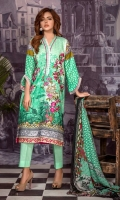4 PCS Embroidered Ladies Suit 100% Cotton Fabric  3 Meters Shirt + sleeves  2.5 Meter Dupatta  2.5 Meter Trouser  Shirt: Lawn  Dupatta: Chiffon  Trouser: Lawn