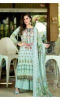 Swiss Embroidered Front  Printed back & Sleeves  Scalping Bamber Chiffon Dupatta  Dyed Trouser