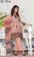 Viscose Embroidered Front Pribted back & Sleeves Embroidered Bamber Chiffon Dupatta Dyed trouser