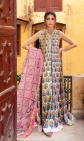 MULTI-COLOR DIGITALLY PRINTED SILK PANELS FRONT  MULRI-COLOR DIGITALLY PRINTED SILK PANELS BACK  DIGITALLTY PRINTED ROCKET NET DUPATTA  DIGITALLY PRINTED SILK FLORAL BORDER  HAND EMBELLISHED ORGANZA NECKLINE PATTI