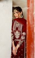 EMBROIDERED & HAND EMBELLISHED VELVET FRONT  VELVET BACK  EMBROIDERED & HAND EMBELLISHED VELVET SLEEVES  DYED NET DUPATTA