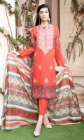 DIGITALLY PRINTED 3.1m LAWN SHIRT  DYED 2.5m LAWN TROUSER  DIGITALLY PRINTED 2.5m LAWN DUPATTA  EMBROIDERED FRONT  EMBROIDERED NECKLINE