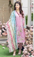 DIGITALLY PRINTED 3.1m LAWN SHIRT  DYED 2.5m LAWN TROUSER  DIGITALLY PRINTED 2.5m LAWN DUPATTA  EMBROIDERED PATCH