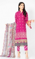 Digitally printed 3.1m Lawn shirt  Dyed 2.5m Lawn trouser  Printed 2.5m Chiffon dupatta  Embroidered Front