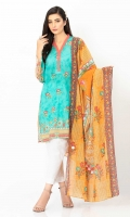 Digitally printed 3.1m Lawn shirt, Printed 2.5m Lawn dupatta, Embroidered Front
