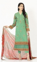 Digitally printed 3.1m Lawn shirt, Dyed 2.5m Lawn trouser, Printed 2.5m Chiffon dupatta, Embroidered Front