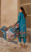 Digitally printed 3.1m Lawn shirt, Dyed 2.5m Lawn trouser, Digitally printed 2.5m Chiffon dupatta, Embroidered Front, Embroidered Patches, Embroidered 0.76m Border, Embroidered 1.37m Patti