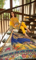 Digitally printed 3.1m Lawn shirt, Dyed 2.5m Lawn trouser, Digitally printed 2.5m Chiffon dupatta, Embroidered Front