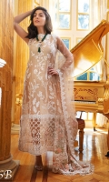 Embroidered Cotton Net Front  Embroidered Net Sleeves  Embroidered Border Patch  Embroidered Net Dupatta  Printed Cotton Net Back  Dyed Viscose Trouser