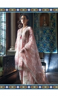 Embroidered front panel  Embroidered side panels Embroidered border  Embroidered sleeve patch  Embroidered lace  Embroidered trouser patch  Dyed cotton net back and sleeves Embroidered net dupatta  Dyed viscose trouser