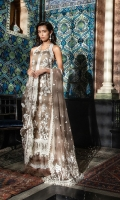Embroidered net front  Embroidered border Embroidered patti  Embroidered net dupatta  Dyed cotton net back and sleeves  Dyed viscose trouser Note: •Laces are used in the neckline and it's not the part of the pack.
