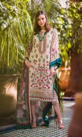 Embroidered front Embroidered border patti Embroidered sheesha border patti Printed sleeves and back Printed cotton net dupatta Plain dyed trouser