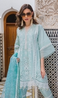 Embroidered front panels Printed back Plain lawn sleeves Printed organza dupatta Plain dyed trouser