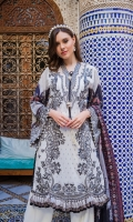 Embroidered jacquard front Embroidered neckline Embroidered border Printed sleeves and back Printed silk dupatta Plain dyed trouser