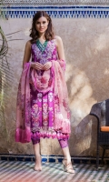 Embroidered front Embroidered neckline Embroidered border Printed sleeves and back Printed organza dupatta Plain dyed trouser