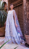 Embroidered front Embroidered border Embroidered border patti Embroidered sleeves Plain dyed back Printed organza dupatta Plain dyed trouser