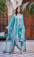 Embroidered jacquard front Embroidered border patti single sheesha patti jacquard dyed sleeves printed back Embroidered net dupatta Plain dyed trouser