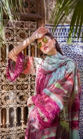 printed front, back and sleeves Embroidered neckline Printed trouser Printed silk dupatta