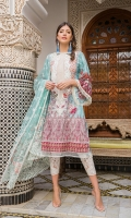 Printed front, back and sleeves Embroidered neckline Embroidered trouser patch Plain dyed trouser Embroidered net dupatta