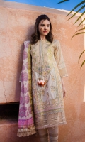 Embroidered front panels Embroidered border Plain dyed back Printed sleeves Printed cotton net dupatta Plain dyed trouser