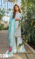 Embroidered Front  Plain Dyed Back Printed Sleeves Printed Silk Dupatta Embroidered Border lace  Embroidered sleeve  Embroidered trouser lace  Embroidered neckline lace  Plain Dyed Trouser