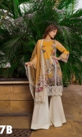 Printed Front, Back, Sleeves Embroidered Net Dupatta Embroidered Patches  Embroidered Border Patch  Plain Dyed Trouser