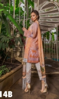 Embroidered Front  Printed Back And Sleeves Printed Silk Dupatta  Embroidered Border Embroidered trouser patch Plain Dyed Trouser