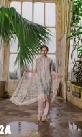 Embroidered Front  Printed Back Plain Dyed Sleeves  Sequins And Embroidered Net Dupatta  Embroidered Border Patch  Embroidered trouser patch Plain Dyed Trouser