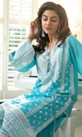 Embroidered Centre Panel Embroidered Side Panel (2pieces) Embroidered Sleeve Patch Embroidered Border Hem Patch Dyed Sleeves Dyed Back Dyed Trouser Embroidered Chiffon Dupatta