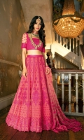 -Embroidered net bodice -14 Embroidered net panels embellished with crystals -Embroidered net dupatta embellished with crystals -Embroidered net sleeves embellished with crystals -Embroidered net belt -Plain dyed net bodice back Note: Hangings and Inner lining fabric is not included.