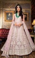 -Thread and sequins embellished net bodice -14 thread and sequins embellished net panels -Thread and sequins embellished net dupatta -Thread and sequins embellished net sleeves -Thread and sequins embellished lace -Plain dyed net lehnga -Plain dyed net bodice back Note: Hangings and Inner lining fabric is not included.