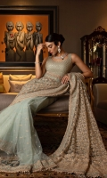Embroidered Net Blouse Front Dyed Net Blouse Back Embroidered Net Sleeves With Border Embroidered Net Saree Pallu Embroidered Net Saree Border Embroidered Net Saree Fall