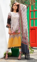-Printed front back and sleeves -Embroidered patch -Embroidered patti -Printed chiffon dupatta -Plain dyed trouser