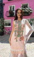 -Embroidered lawn front -Embroidered front patch -Plain dyed back -Printed lawn sleeves -Printed chiffon dupatta -Plain dyed trouser
