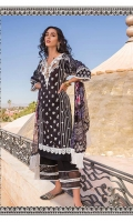 - Embroidered front - Embroidered neckline - Printed back and sleeves - Printed chiffon dupatta - Plain dyed trouser